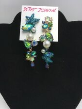 $58 Betsey Johnson sea life mismatched star fish earrings A28