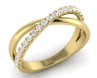 0.35CT Round Brilliant Cut Half Eternity Cross Over Ring in 9K Yellow Gold