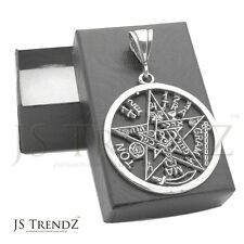 Sterling Silver Black Oxidize Antique Finish Pentagram Pendant 40mm Big