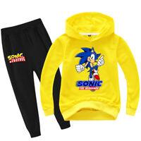 Kids Unisex Sweatshirt Set Sonic The Hedgehog Autumn Cartoon Hoodie+Trousers 2Pc