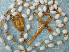 Vintage Catholic Rosary VIRGIN MARY & St. JOSEPH medal White glass beads