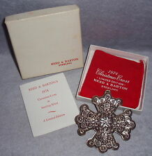1974 Reed Barton 4th Annual Sterling Silver Christmas Cross Ornament Medallion