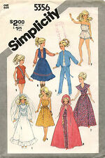 VTG Simplicity Wardrobe for Doll such as Barbie  Pattern 5356  11.5 tall UNCUT