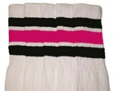 "30"" OVER THE KNEE WHITE tube socks with BLACK/HOT PINK stripes style 1 (30-19)"
