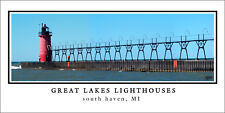 Poster Great Lakes Lighthouse South Haven Michigan Panoramic Fine Art Print