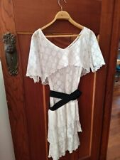 see by chloe size UK 10 white lace dress boho style with black elastic waistband