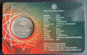 LITHUANIA 1 Litas (2011) European Basketball Championship UNC in coin-card