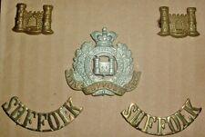 CAP BADGES-ORIGINAL BOER WAR CAP COLLARS TITLES SET SUFFOLK REGIMENT