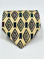 GEOFFREY BEENE Geometric Print 100% Silk Mens Neck Tie - Yellow/Dark Red/Green