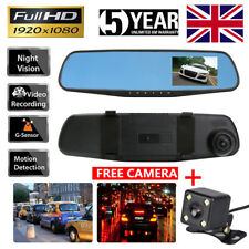 Car DVR 4.3'' HD 1080P Dual Lens Auto Mirror Dash Cam Recorder Rearview Camera G
