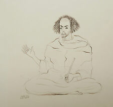Beau Dessin Ancien Encre Portrait Homme Fumeur Pipe CLAUDE LEPAPE Orientaliste