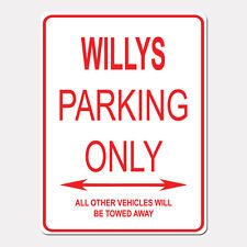 """WILLYS Parking Only Street Sign Heavy Duty Aluminum Sign 9"""" x 12"""""""