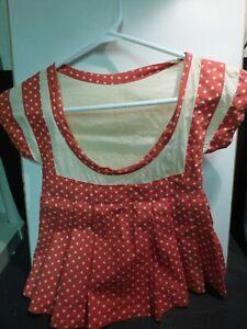 VINTAGE 1940'S RED POLKA DOT DRESS CLOTHES PIN BAG