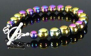 Rainbow Hematite Magnetic Bracelet 925 Silver Toggle