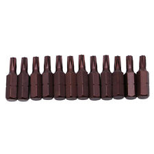 """12Pcs 25mm 1/4"""" Hex Shank Magnetic T20 Torx Security Screwdriver Bits With Hole"""