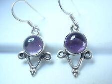 Amethyst Dangle Earrings 925 Sterling Silver Drop Corona Sun Jewelry Purple