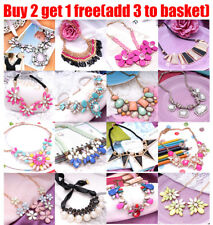 Women Fashion Crystal Choker Chain Chunky Statement Bib Necklace For Women Lady