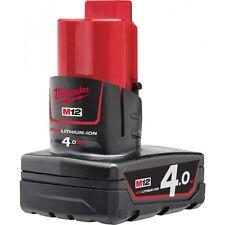 Milwaukee M12B4 M12 Batteria 12volt  Rosso Ioni Di Litio 4.0 Ah Batteria