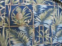 XL Vintage Hawaiian Shirt Dark Blue Green Bamboo Pineapple Palm Cooke St Cotton