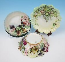Antique Haviland Limoges Artist HP Bowl & Plate Berries Flowers Gold Porcelain