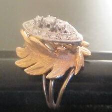 Vintage 14kt Yellow Gold Ring with real white Diamonds 1+ carats