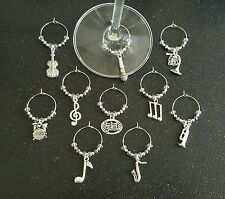 Music themed wine glass charms set of 10.