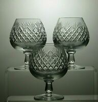 "LEAD CRYSTAL CUT GLASS 12 OZ BRANDY GLASSES SET OF 3 - 5"" TALL"