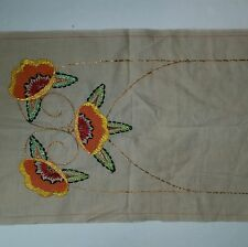 """Embroidered Fabric Panel Cotton 14 1/4""""X44 1/2"""" Hand Made"""