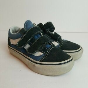 Vans Off The Wall Boys Shoes Size 10.5 Nlue White Low Top Hook & Loop