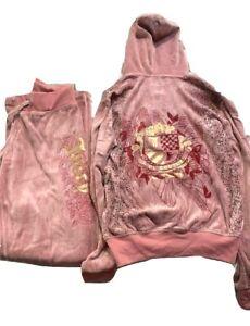 Juicy Couture Original Rare Y2K Vintage Pink Velour Tracksuit Set XL