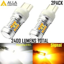 AllaLighting 7443 28-LED Dual Color Yellow Turn Signal White DRL Switchback Bulb