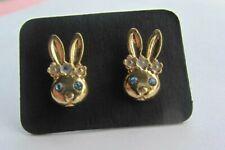 Rabbit Stud Earrings Gold Tone