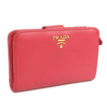 PRADA Saffiano Leather Bifold L-zip Compact Wallet Pink #43284 free shipping