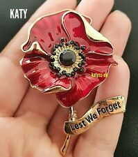 Large Red Poppy Flower Broach Diamante Brooch Vintage Gold Crystal Pin Gift UK