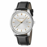 Wenger Men's Watch City Classic Silver Tone Dial Black Leather Strap 01.1441.103