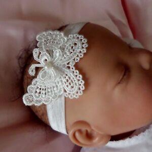 *Baby Headband off white butterfly christening baptism wedding photo prop