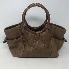 Fossil Leather Handbag Brown Woven Tote Braided Circle Handles Purse Boho