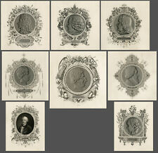 Set of 8 antique portrait prints-FAMOUS BIOLOGIST-BUFFON-LINNAEUS-Lemaout-1843