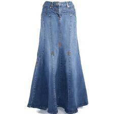 Bisou Bisou Jeans Denim Skirt Sz 12 Mermaid Blue Modest Long No Slits