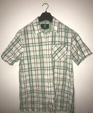 Men's Animal Checked Tartan Green Cream Shirt Size S Regular Fit