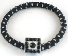Black White Polka Dot Crystal Ponytail Holder Bracelet Hair Accessary