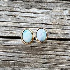 Rose Gold Plated Doublet Opal Earrings