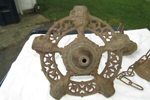 Antique Cast Iron Ceiling Light Fixture, Hanging Lamp Victorian Chain Hung+Cover
