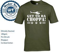 Get To Da Choppa T Shirt Funny Predator Arnie Army Style- S - XXL 6 Colours