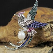 Pin and Pendant Silver Phoenix cultured pearl Pale Pink Vintage Original