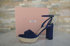 MIU Tam. 40 Sandalias con Plataforma Sandals Zapatos Cáñamo Azul Marino Nuevo
