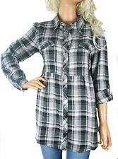 UK SIZE 12 Ladies Long Sleeve Grey and Black Checked Shirt Blouse