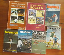 7 Vintage Sports Manuals Softball Soccer Hockey baseball Volleyball Rugby Badmin