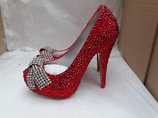 Red Diamante Beaded Stiletto Heel Shoes with Sparkly Silver Diamante Bow UK 3