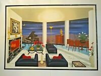 """Fanch Ledan Large 30"""" x 43""""Signed original serigraph (Interior with Picasso)"""